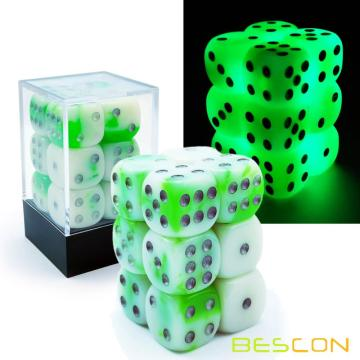 Bescon Two Tone Glowing Dice D6 16mm 12pcs Set Luminous Jade, 16mm Six Sided Die (12) Block of Glowing Dice