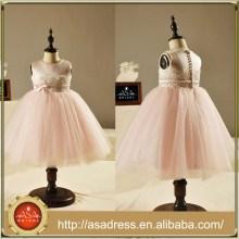 FL1005 ilusión Vestidos de niña de flor rosa Vestidos de fiesta de las niñas de la correa Parte posterior de la longitud del tobillo con Bottons Pequeño arco para las bodas