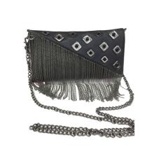 Fashion Eyelet Fringe Clutch Bag PU Tassel Handbag WZX1066