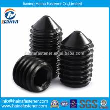 Tornillo de ajuste de acero al carbono negro de grado 12.9 con punto de cono