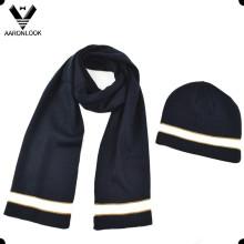 Nuevo sombrero de la gorrita tejida de la bufanda de los hombres de la muestra 2016 fijado