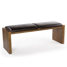 Banco de sofá elegante em couro de madeira para restaurante