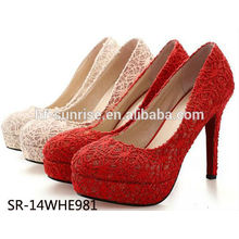 SR-14WHE981 sexy lace high heel shoes wholesale ladies high heel shoes bride high heel soes