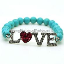 Turquesa 8MM Round Beads esticar pulseira de pedras preciosas com Diamante Alloy Love Piece