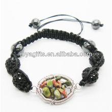 Moda 10MM preto Crystal bolas tecido pulseira com árvore sorte