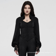 PUNK RAVE girls sexy Gothic series women long sleeve lace applicated bodycon wholesale black blouse