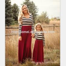 2017 nueva moda de manga larga madre e hija vestido de diseño largo a rayas mami y yo vestido a juego
