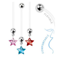 CZ Star Pregnancy Bioflex Belly Button Ring