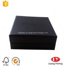 Caixa de cartão de jóias pulseira preta com espuma