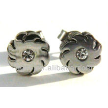 Stainless Steel Cool Swirl Blade With CZ Stud Earrings