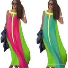 Femmes Summer Casual Color Block Long Party Robes Robe Longue (50566-1)