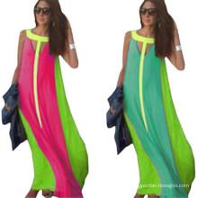 Women Summer Casual Color Block Long Party Dresses Robe Longue (50566-1)