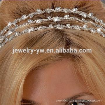 Оптовый металл способа покрынный серебром кристаллический диапазон волос тиры для женщин