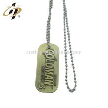 Pas cher promotionnel bronze antique logo personnalisé blanc militaire en métal collier chien tag avec bradde chaîne