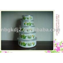 5pcs enamel bowl set