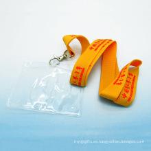 Titular de tarjeta de identificación de tarjeta de identificación de plástico de acollador de poliéster personalizado