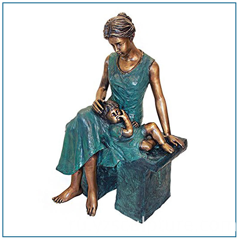 Bronze Mother and Boy Statue