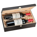 Double Bottle, Wooden Luxury Gift Box for Wine, Champagne or Whisky (Black)