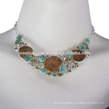 Medagaskar Ammonite, Idocrase, Prehnite, Pyarite, Tibetan Turquoise and 925 Sterling Silver Necklace