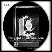 K9 3D Laser Etched Owl Inside Crystal Rectangle
