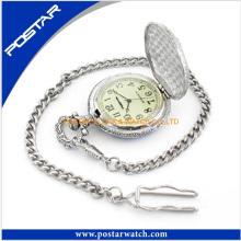 Big Dial relógio de bolso relógio nostálgico com Cadeia
