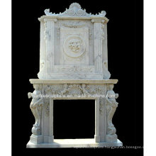 High Quality Double Marble Fireplace Carved Figures and Flowers (SY-MF207)
