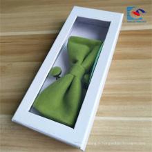 Boîte blanche d'emballage de noeud papillon blanc de prix inférieur avec la fenêtre de PVC