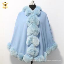 Neue Mode Frauen Blau Kaschmir Cape mit Big Fox Pelz Trim