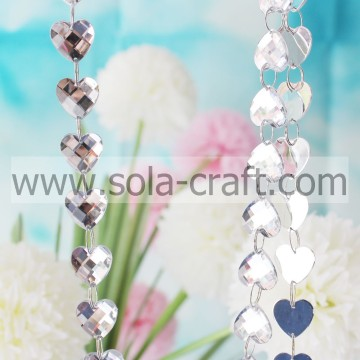 Faceted Heart Bead Garland   18MM Charm Transparent Faceted Heart Bead Acrylic Crystal Mirror Chandelier Accessories