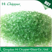 Chips triturados de vidrio verde claro