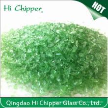 Chips de verre vert concassé