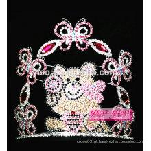 Melhor design colorido de cristal borboleta urso tiara por atacado