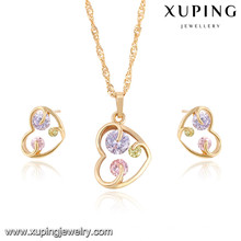 64045 Xuping artificial kundan bridal gold plated jewellery sets
