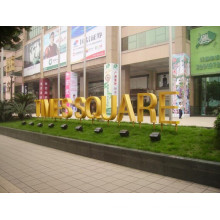 3D Fabricated Polished Mirror Golden Titanium Letter