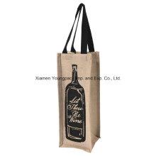 Wholesale Custom One Bottle Jute Wine Bottle Carrier Bags