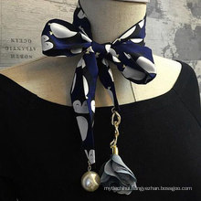 China wholesale neckerchief pearl decorated polyester fiber scarf with flower pendant