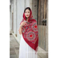 Elegant Muslim Embroidered Women Wool Scarf