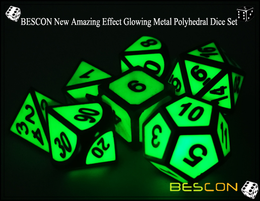 BESCON New Amazing Effect Glowing in the Dark Metal Polyhedral Role Playing RPG Game Dice Set of 7-1