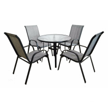 Teslin Patio Furniture 5 Piece Black Bistro Set Outdoor Garden Furniture Glass Table High Back Chairs