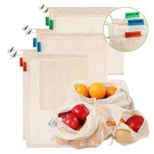 Custom printed storage fruit vegetable net cotton mesh produce shopping bags