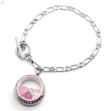 Mgnetic design 316l stainless steel jewelry NK Chain living floating glass memory locket bracelet