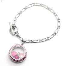 Mgnetic design de aço inoxidável 316l jóias NK Cadeia de vida flutuante vidro memória medalhão pulseira