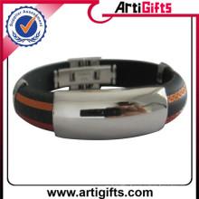 Cheap custom logo woven wristbands with metallic thread