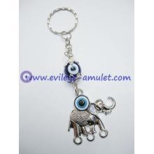Alloy elephant evil eye keychain cheap wholesale