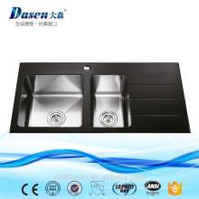 Одобренный CE черный закаленное стеклянная двойная раковина кухни кварца раковина с drainboard