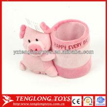 Мультфильм свиной формы чучела розовый плюшевый карандаш держатель для детей