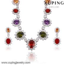 Fashion Luxury Rhodium Flower -Shaped CZ Diamond Jewelry Set for Wedding 62949