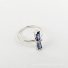 925 silver jewelry white gold ring with blue rectangular zircon rhinestones for women