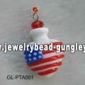 USA flag shape lampwork perfume bottle