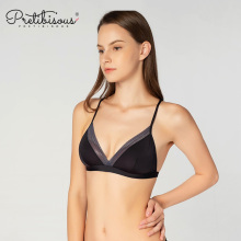 Ladies svart tråd fri triangel spets bralette